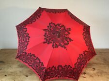 VINTAGE 1950s RED BLACK FLORAL PRINT STYLISH UMBRELLA - ORIGINAL CON