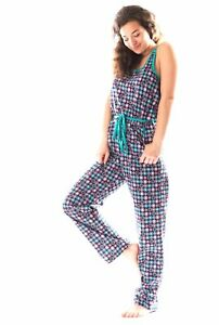 Damen Pyjama Jumpsuit, Schlafoverall  DF020V