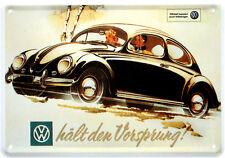 Blechpostkarte VW Käfer hält den Vorsprung 10cm x14,5cm