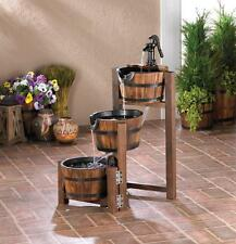 Cascading Barrel Fountain with Pump Garden Patio Deck Yard Indoors Water Feature