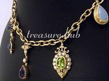 CB128- Vintage style 9ct SOLID Gold CHARM Bracelet - colorful NATURAL GEMS