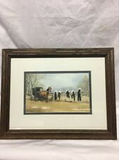 Al Koenig 1990 Framed Double Matted Print Amish Kids On Bridge Double Signed