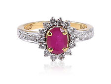 Pave 1.85 Cts Natural Diamonds Ruby Cocktail Ring In Solid Hallmark 18Karat Gold