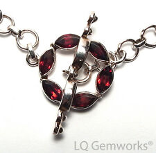 GARNET 925 Sterling Silver 21mm Stone Toggle Clasp /GE