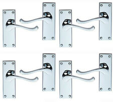 4 Sets Victorian Scroll Lever Latch Door Handles 118 x 40mm Polished Chrome