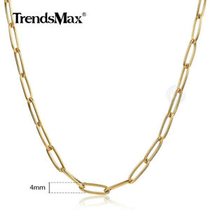 4MM Gold Plated Stainless Steel Paperclip Chain Necklace Women Choker 16/18/20""