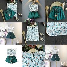 Clothes T-shirt Tops + Shorts Pants Set Ruffled Floral Outfits Kids Girls Summer