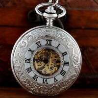 Luxury Silver Double Hunter Skeleton Mechanical Pocket Watch Chain Vintage Gift