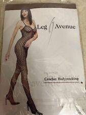 LEG AVENUE PURPLE CROCHET BODYSTOCKING OPEN CROTCH STYLE 8300 OSFM