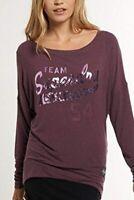 Superdry Luxe Top T Shirt LS Ladies Plum Top Size XS *REF71