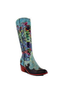 Women L'artiste Gidyup-TQM Leather Western Boot Turquoise Multi