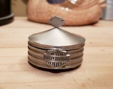 VINTAGE PEWTER HARLEY DAVIDSON COLLECTIBLE TRINKET BOX JEWELRY DISH SMALL ROUND