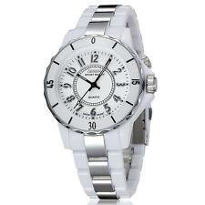 Men's Women's Stainless Steel Couples Wrist Watch LED Analog Quartz Waterproof