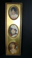 Vintage Marad Wall Decor Gilt Frame With 3 Portrait Prints