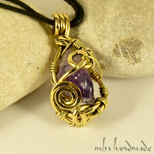Amethyst Crystal Point Pendant Brass Wire Wrapped Natural Gemstone
