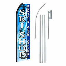 SKI SHOP BLUE/WHITE 15' COMPLETE SWOOPER FLAG STARTER KIT Bow Feather