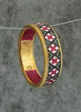 Ukrainian Embroidery Rushnyk Towel Ring,Green-Red-White-Black Enamel,10size SSGP