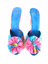 DESIGNER DELMAN FLOWER MULTI COLOR PRINT FABRIC OPEN TOE HIGH HEEL SANDALS 8.5M