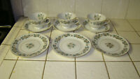 NORITAKE china LAURETTE 5047 pattern Mixed Lot Cups-Saucers and Bread & Butter