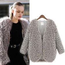 Womens Long Sleeve Fluffy Faux Fur Cape Coat Jackets Winter Warm Cardigan Tops