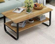 Elegance Wood & Steel Coffee Table with Shelf Modern Furniture - Black Oak