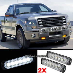 2X 6 LED White Emergency Hazard Warning Flash Strobe Beacon Caution Light Bar#15