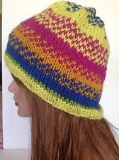 Hand Knit Wool Hat Beanie Slouch Multicolor Designer Fashion Hip