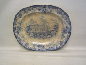 "Joseph Heath & Co England Blue Transferware Platter ""Persian"" Pattern 14"" x 12"""