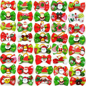 1-100pc Christmas Dog Hair Bows Rubber Band Cute Pet Cat Grooming Topknot Bows