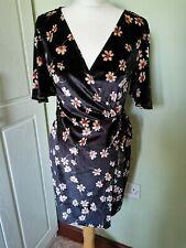Topshop Petite Black Velvet Floral Wrap Dress Size 12