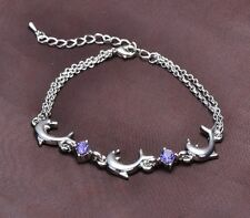 Sterling Silver Bracelet Dolphin Link Purple Amethyst Blue Crystal Gift Box AC