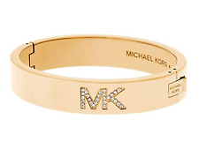 MICHAEL KORS Women's MK Crystal Pave Logo Yellow Gold Bangle Bracelet MKJ4653710
