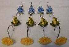 Set Of 12 Ceramic Frog And Lily Pad Bath Shower Curtain Hooks Rings Metal