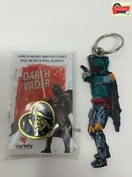 STAR WARS Darth Vader Pin & Boba Fett Key Chain Rare Mandalorian