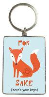 For Fox Sake Metallic Keyring Lovely Birthday Christmas Gift Idea