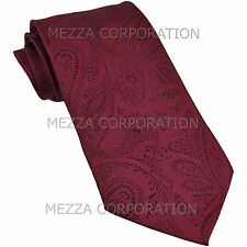 New Vesuvio Napoli polyester Men's necktie paisley wedding formal prom Burgundy