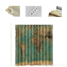 World Map Shower Curtain Vintage Look Style Pattern Waterproof Fabric Bathroom
