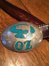 "VTG  SILVER & INLAID TURQUOISE BUCKLE ON A 1-3/8"" SOFT leather Belt."