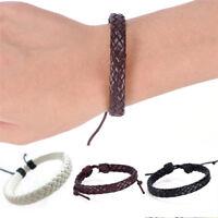 Retro Leather Bracelet Bangle Cuff Rope Black Surfer Wrap Adjustable Men&WomenFI