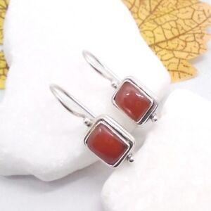Karneol rotbraun eckig Design Ohrringe Ohrhänger Haken 925 Sterling Silber neu