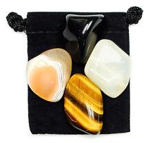 YIN YANG BALANCE Tumbled Crystal Healing Set = 4 Stones + Pouch + Description