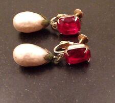 Accessocraft Emerald Cut Ruby Baroque Teardrop Pearl Screw Back Clip On Earrings