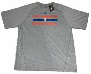 NBA Los Angeles Clippers Adidas Grey Climalite Performance Tee Shirt NEW!
