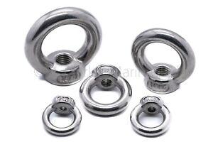 Stainless steel lifting eye nut female bolt A4 316 Marine grade M5 M6 M8 M10 M12