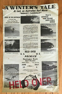 A Winters Tale Original Surf Movie Poster Handbill Surfing '75 Huntington Beach