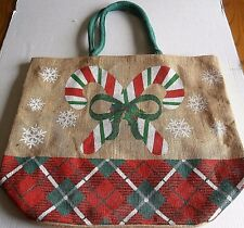 """Large Christmas Burlap Tote Bag  CANDY CANES  21.5"""" X 18"""" w/ 10"""" Green Handles"""