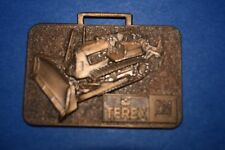 AW-100 - GM Terex Bull Dozer Advertising Watch Fob w back info, Vintage Brass