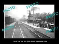OLD LARGE HISTORIC PHOTO OF TUXEDO NEW YORK, THE RAILROAD DEPOT STATION c1940