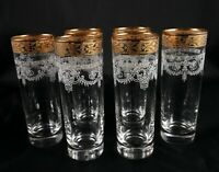 6 Lovely vintage crystal tumblers water lager mixer glasses gold rim high ball