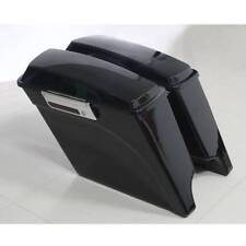 "Vivid Black 5"" Stretched Extended Hard Saddlebags For Harley Touring Model 93-13"
